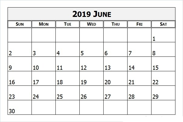 June 2019 Calendar PDF - Download Free Printable Calendar