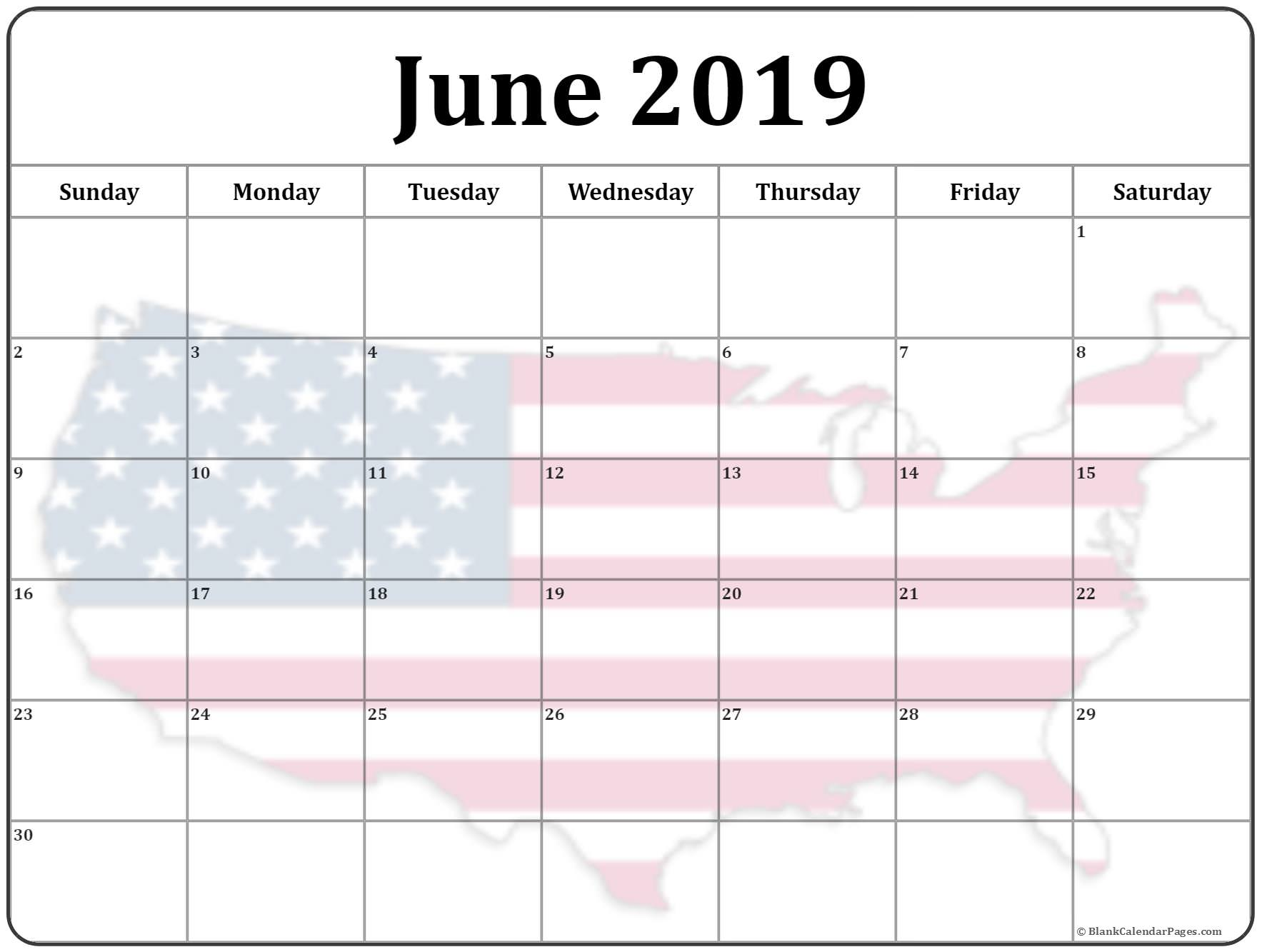 June 2019 Calendar Template USA