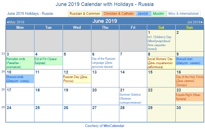 June 2019 Calendar With Holidays Russia