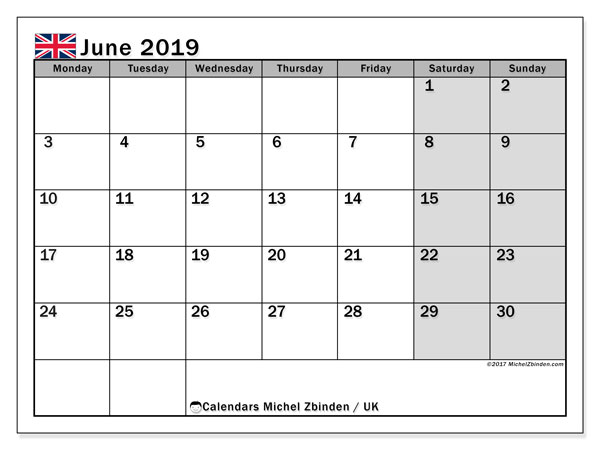June 2019 Calendar With Holidays UK