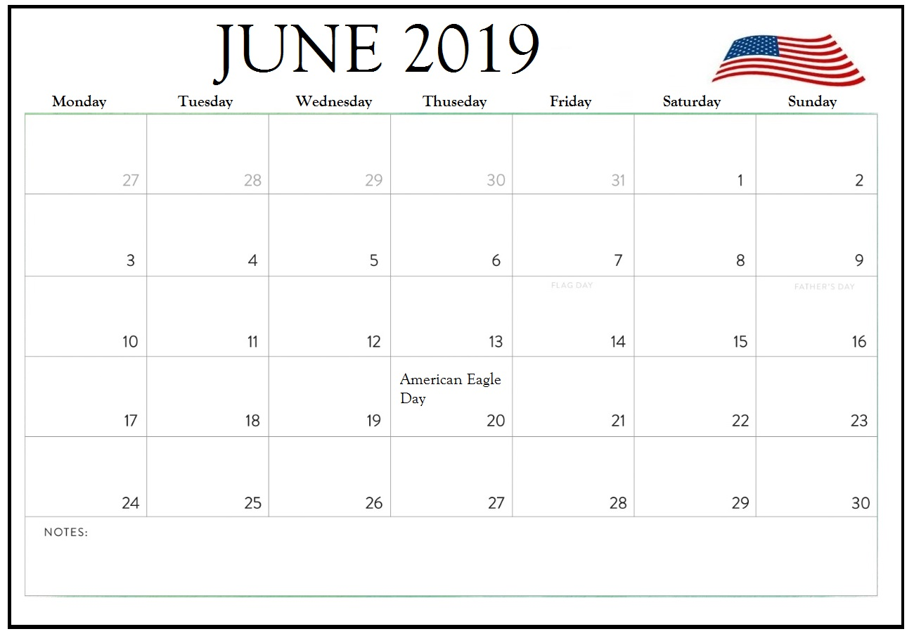 picture relating to Free Printable Calendar With Us Holidays called June 2019 Calendar With Holiday seasons United states - Obtain Free of charge