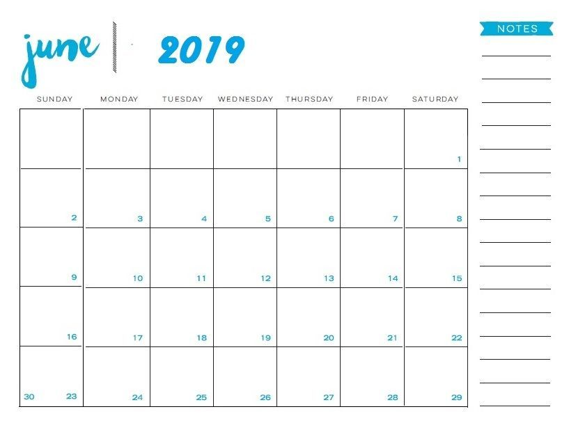 June 2019 Calendar With Notes