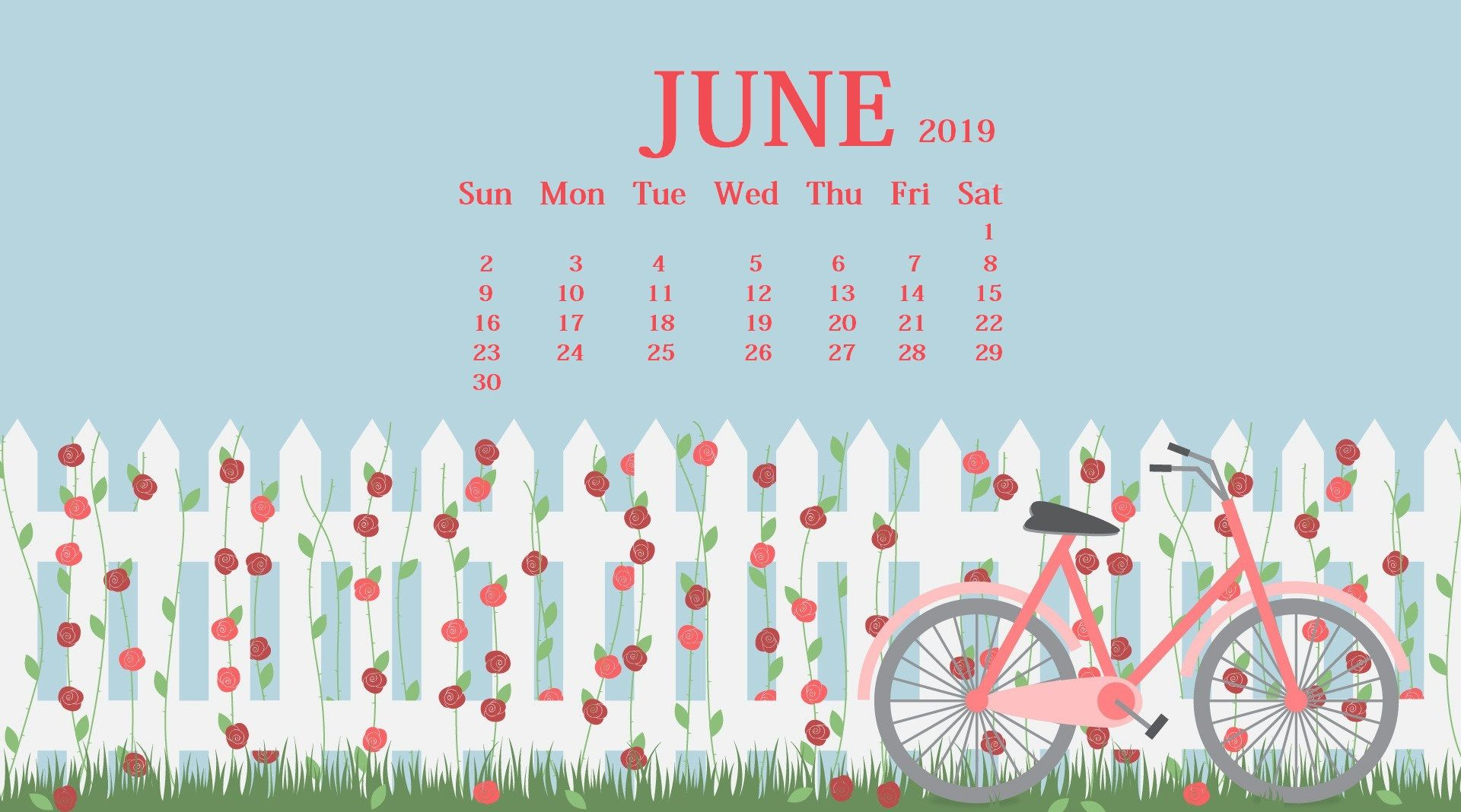 June 2019 HD Calendar Wallpaper