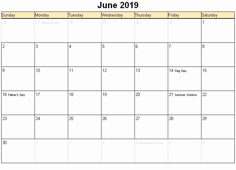 June 2019 Holidays Calendar Page