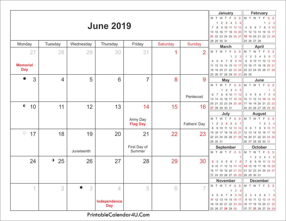 June 2019 Holidays Calendar With Moon Phases