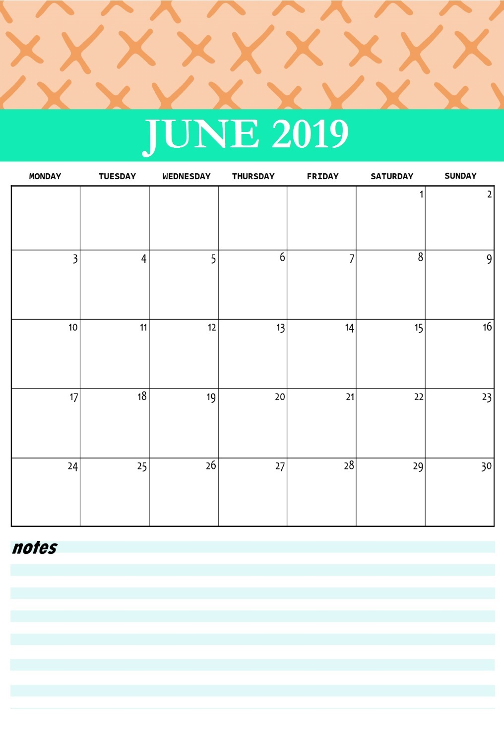June 2019 Printable Calendar Cute