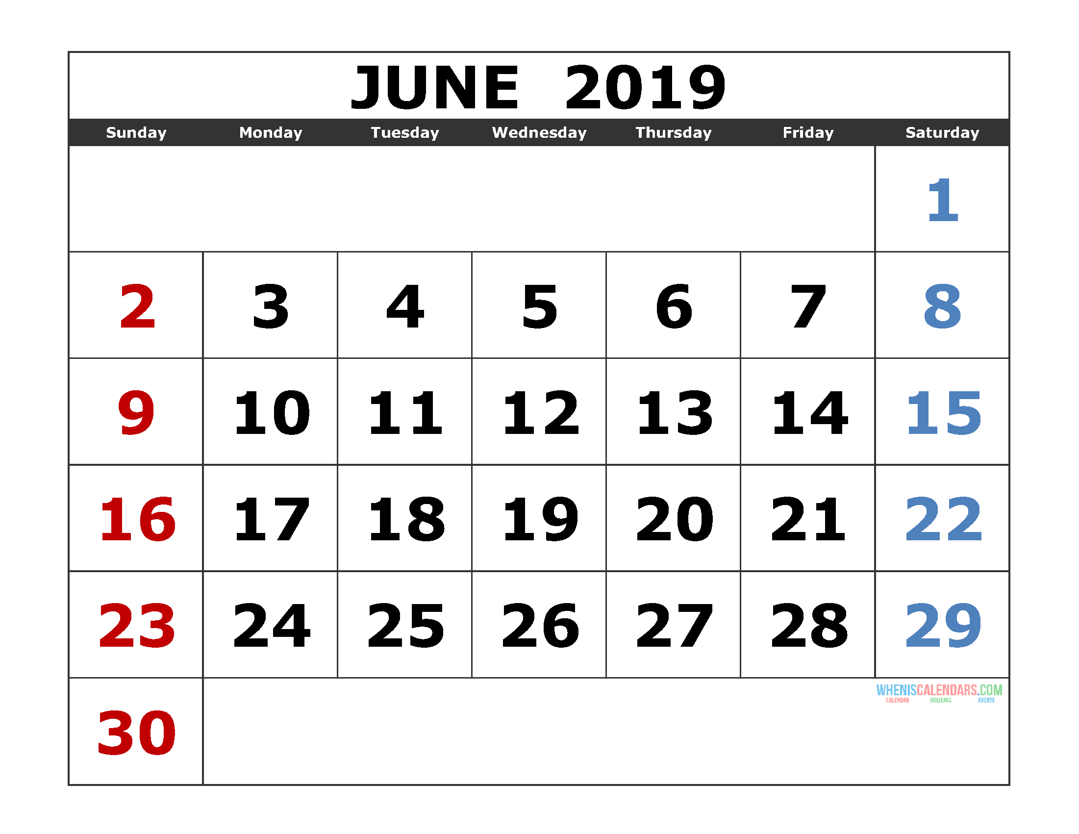 June 2019 Printable Calendar Portrait