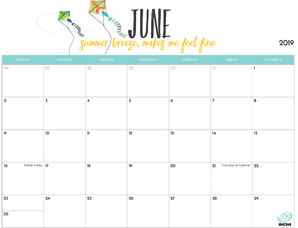 image relating to Free Printable June Calendar named June 2019 Printable Calendar With Vacations - Down load Cost-free