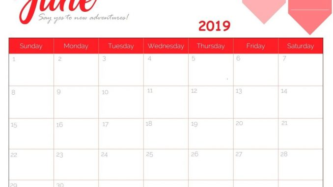 June 2019 Calendar Template Landscape and Portrait - PDF