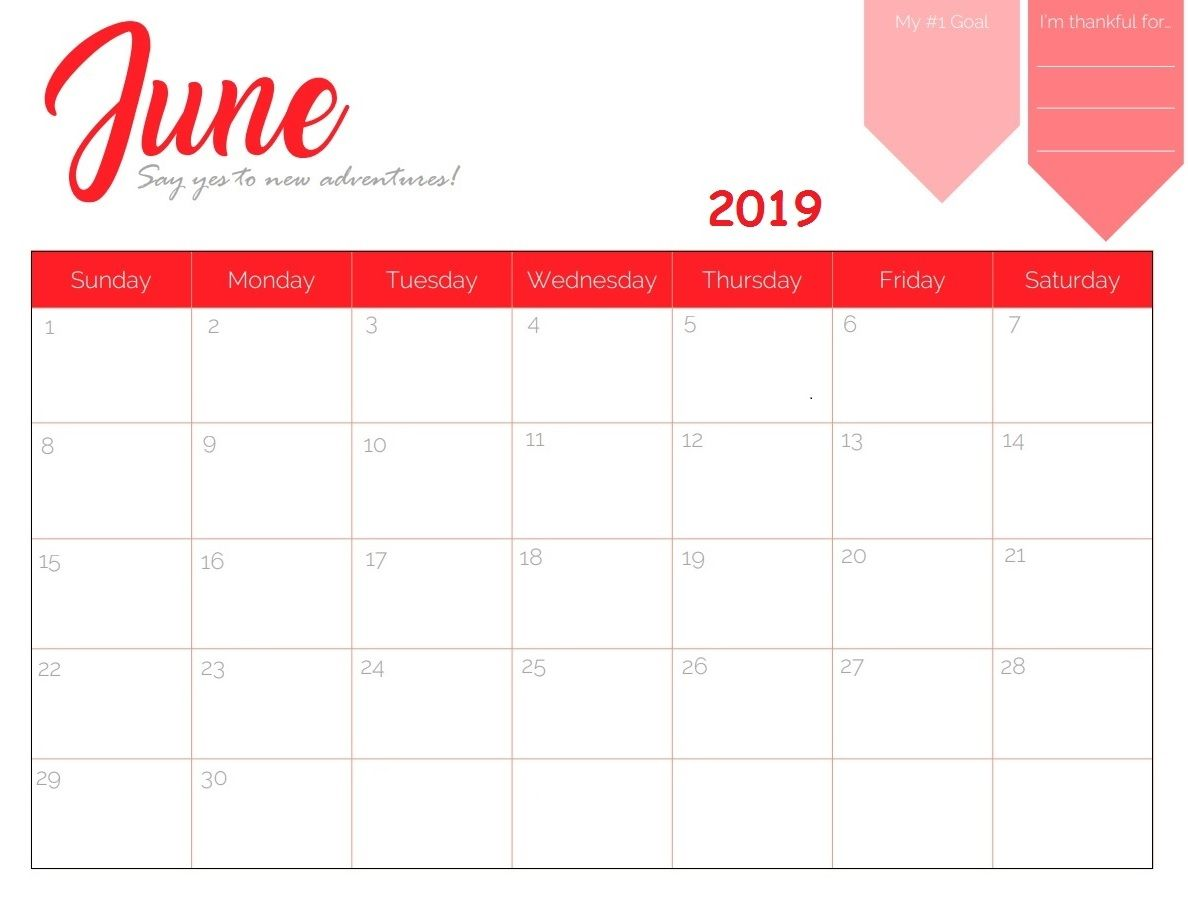 June 2019 Wall Calendar Template
