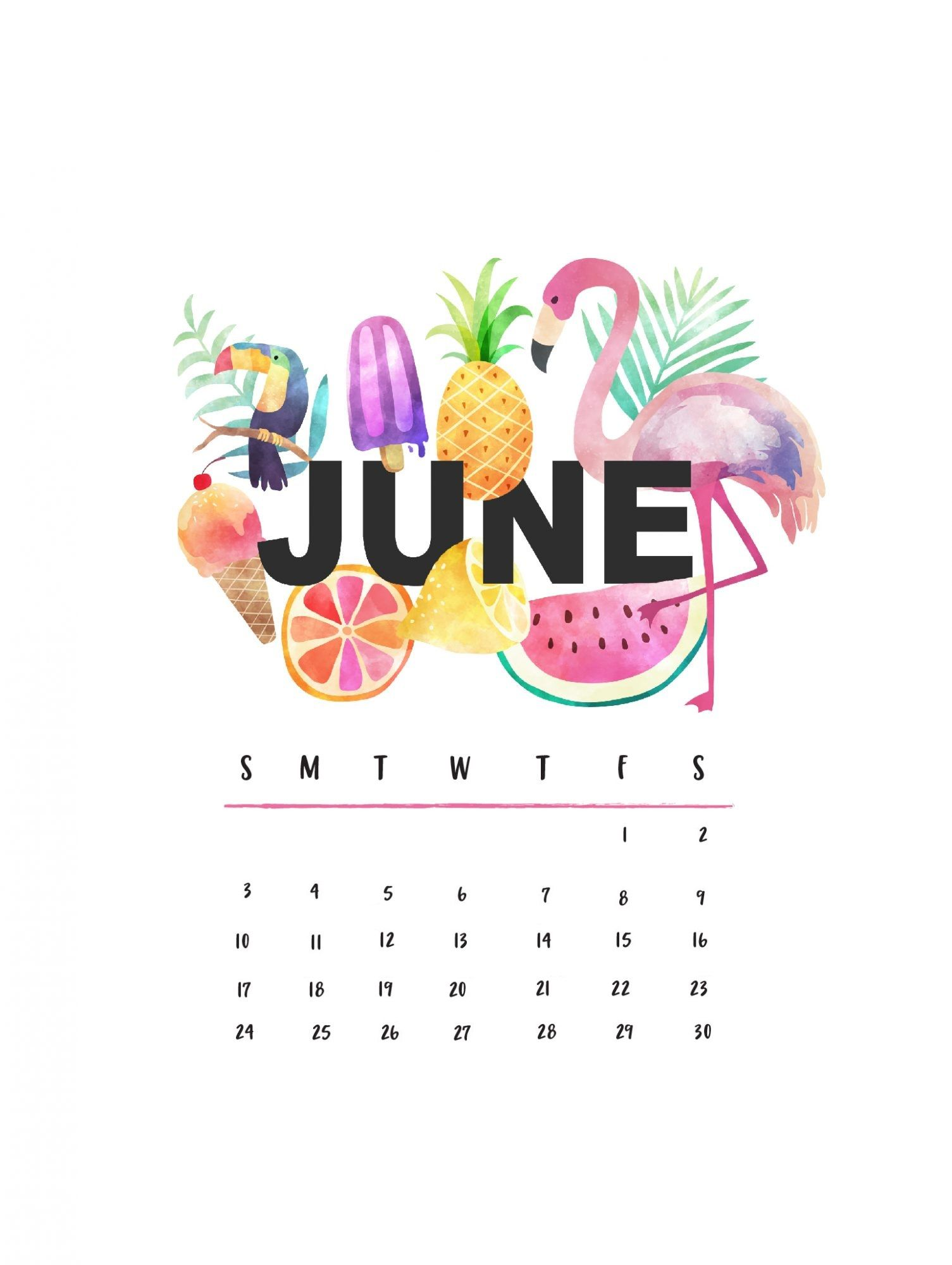 June 2019 iPhone Calendar HD Wallpaper