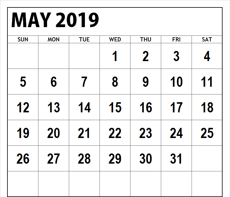 May 2019 Calendar Excel Editable Template