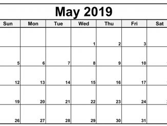 May 2019 Printable Calendar Horizontal