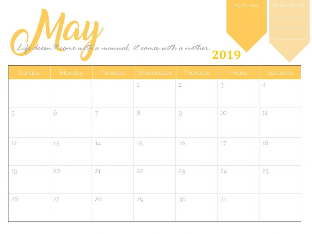 May 2019 Wall Calendar Template