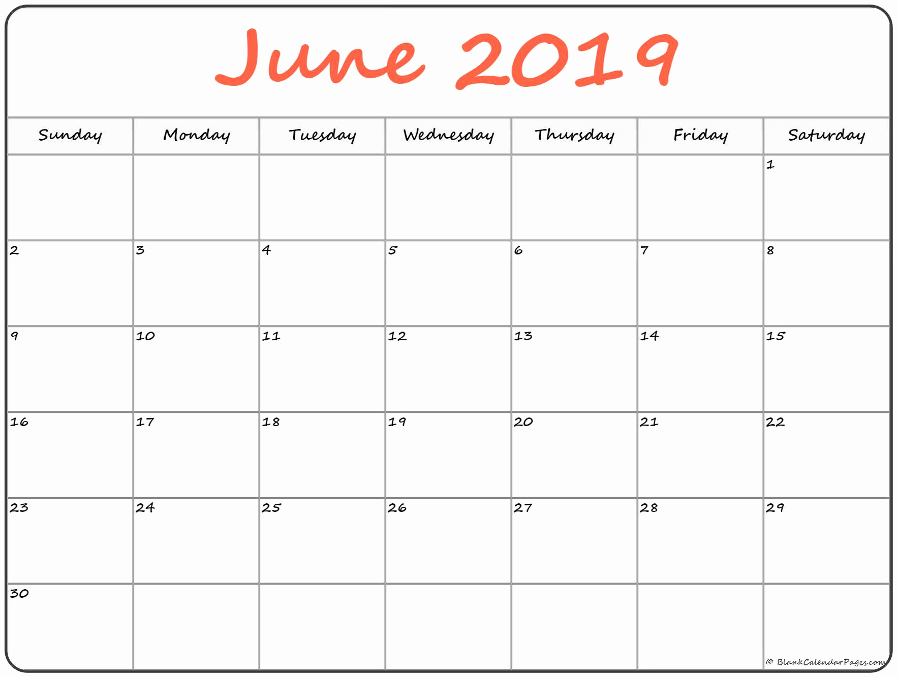 Monthly Blank Calendar June 2019