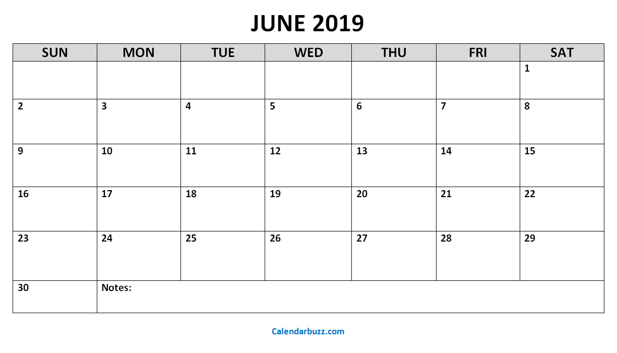 picture regarding Monthly Printable Calendar identified as Every month Printable Calendar June 2019 - Obtain Totally free