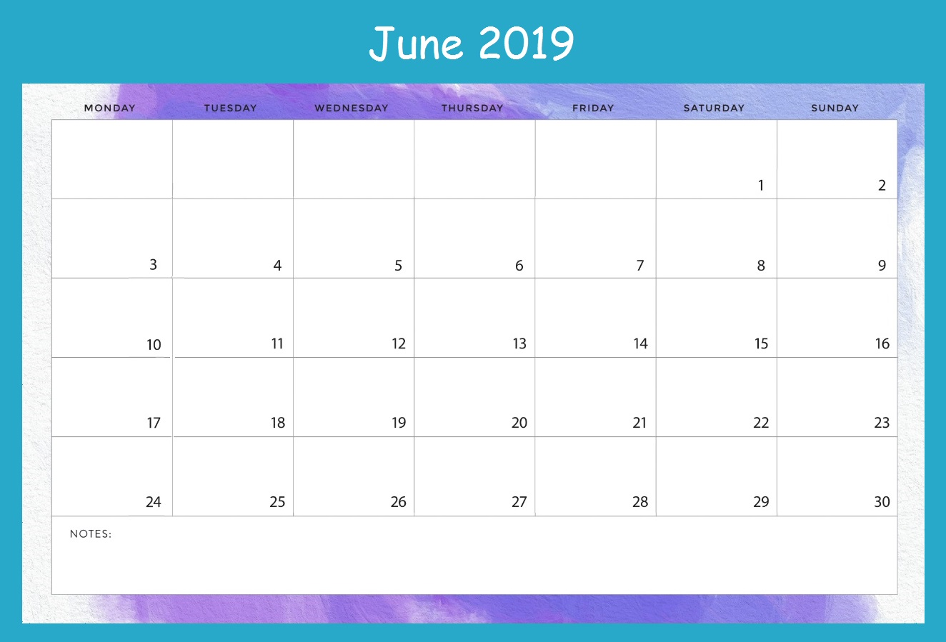 Printable June 2019 Desk Calendar