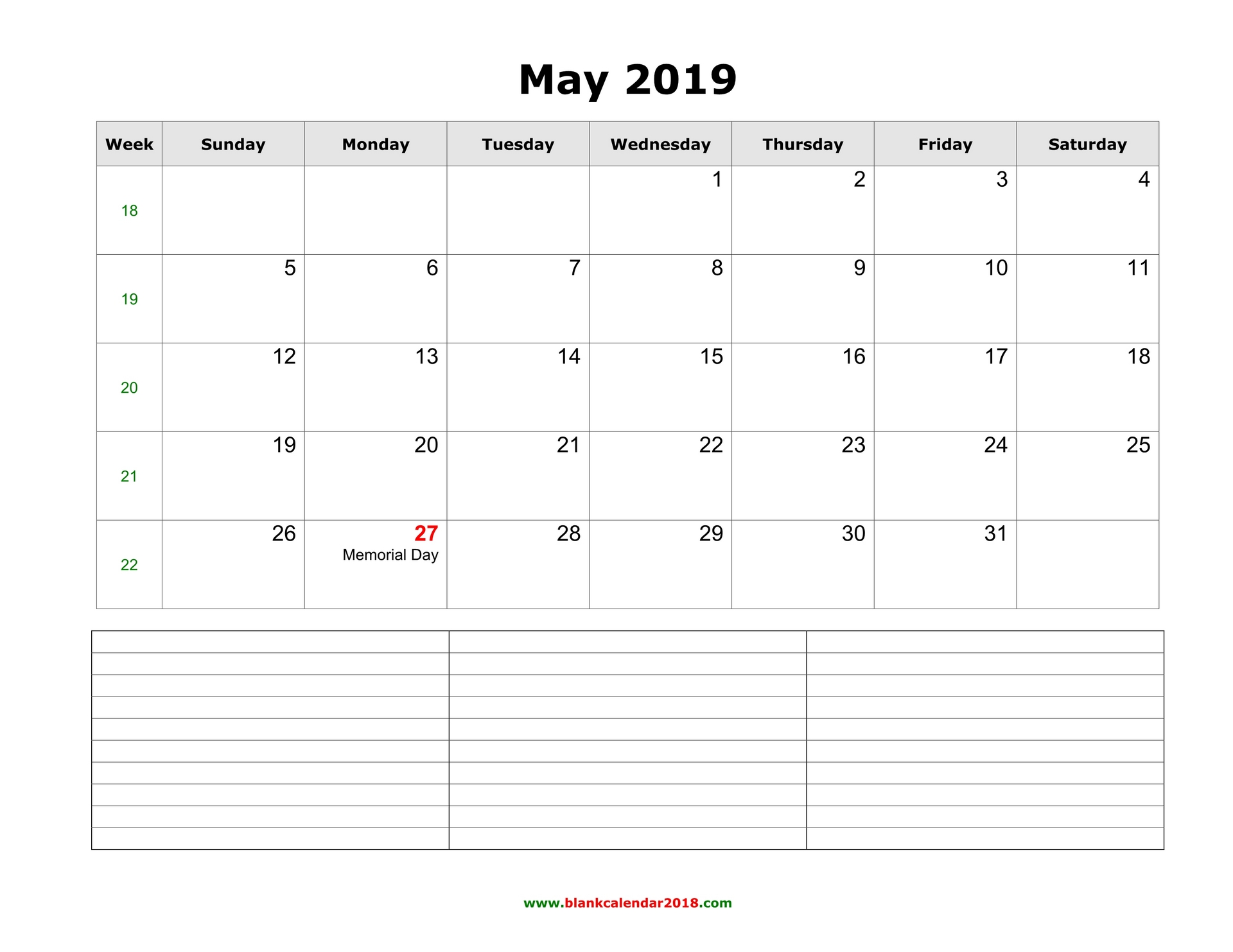 fillable blank calendar may 2019 with notes landscape