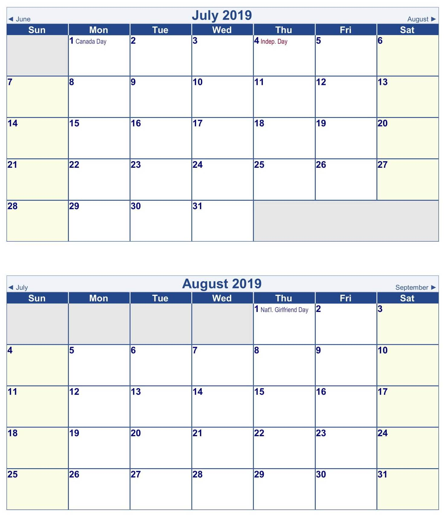 July August 2019 Calendar Printable Template