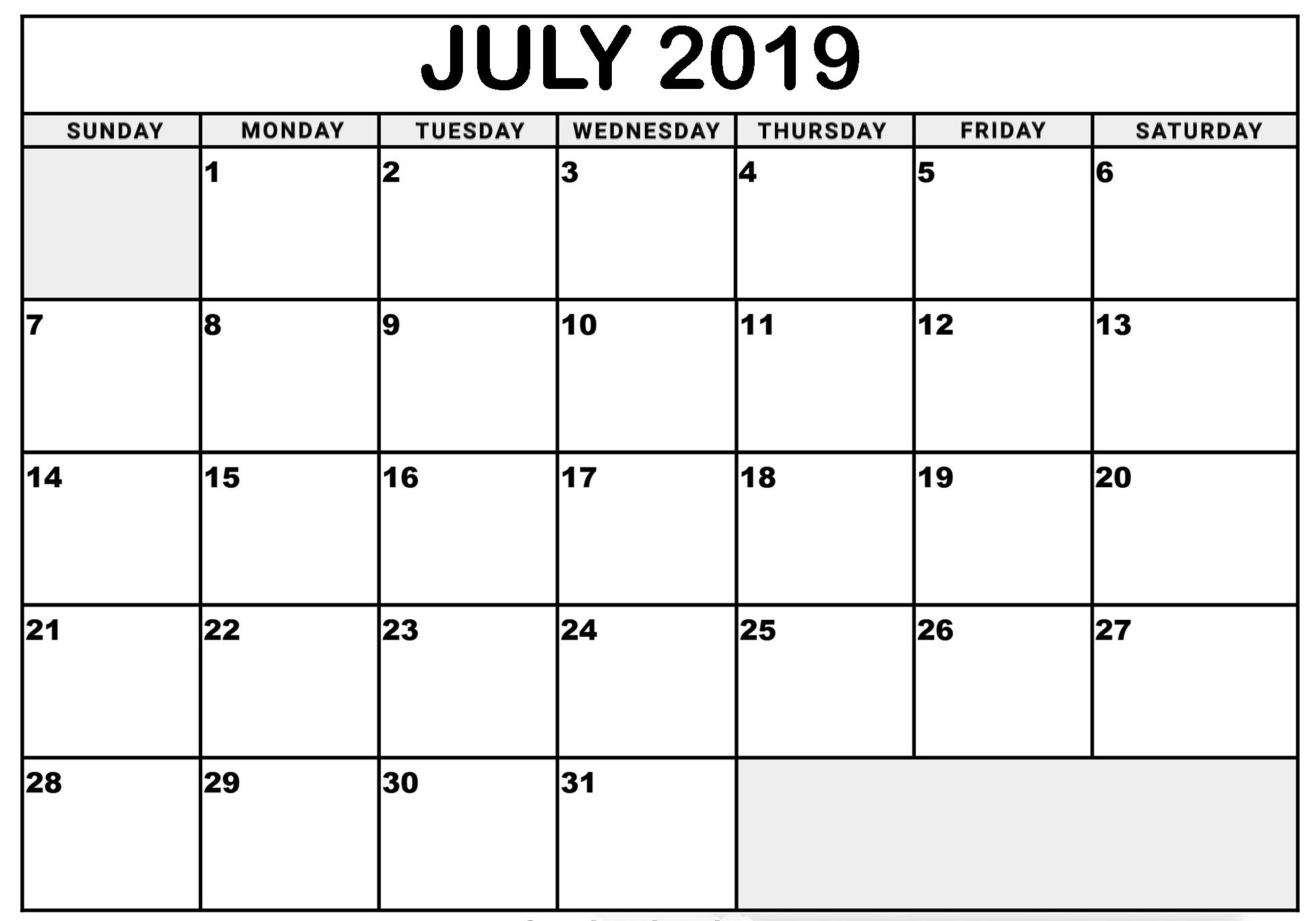 Calendar July 2019 with Holidays