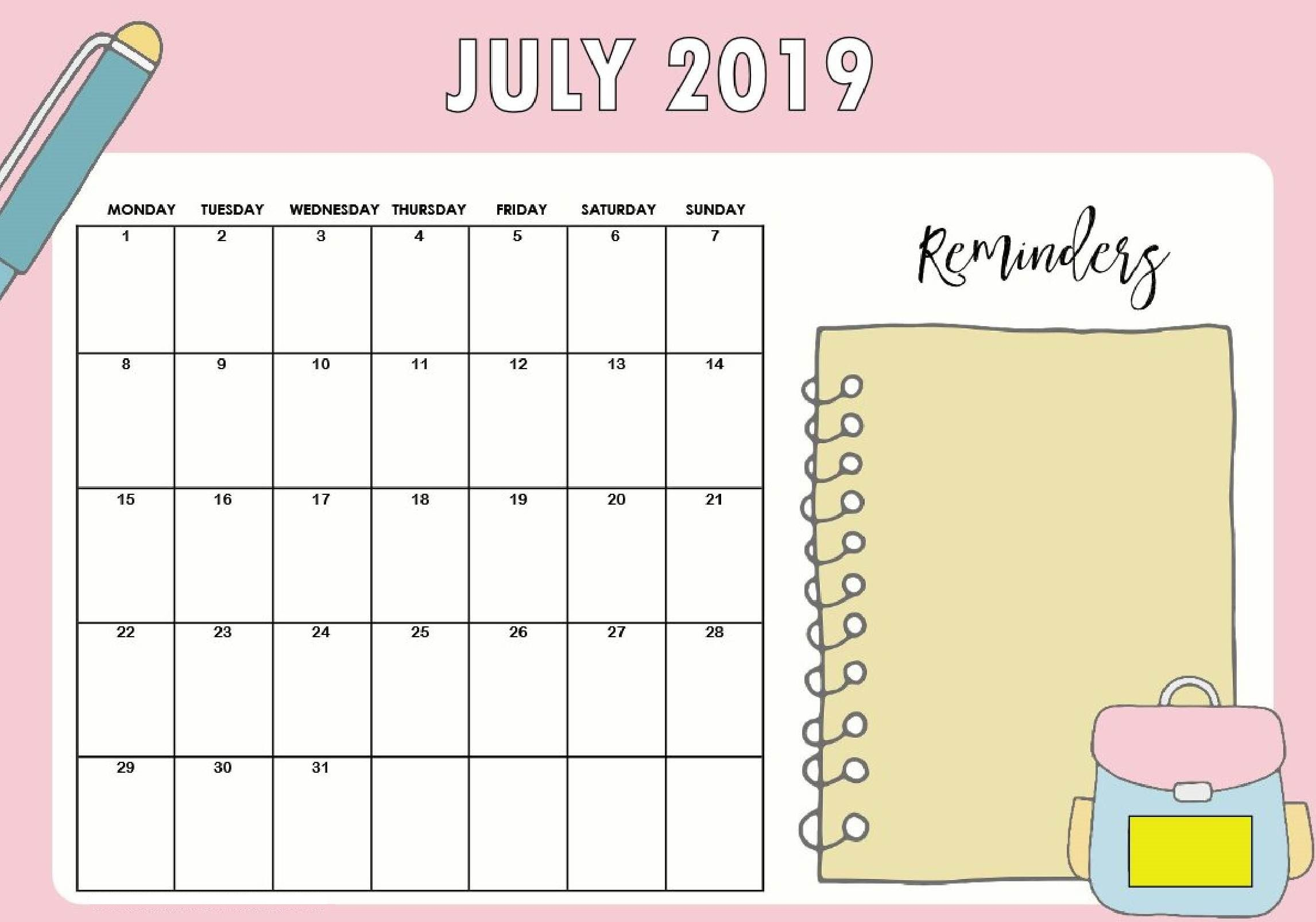 Free Printable Cute July 2019 Calendar