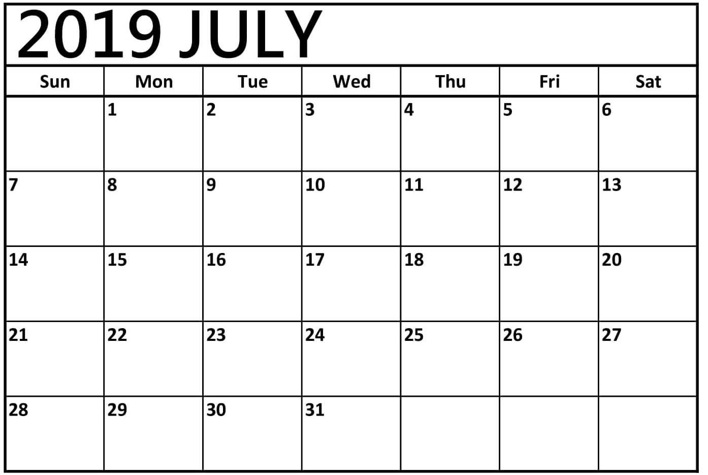 July 2019 Calendar with Holidays Dates