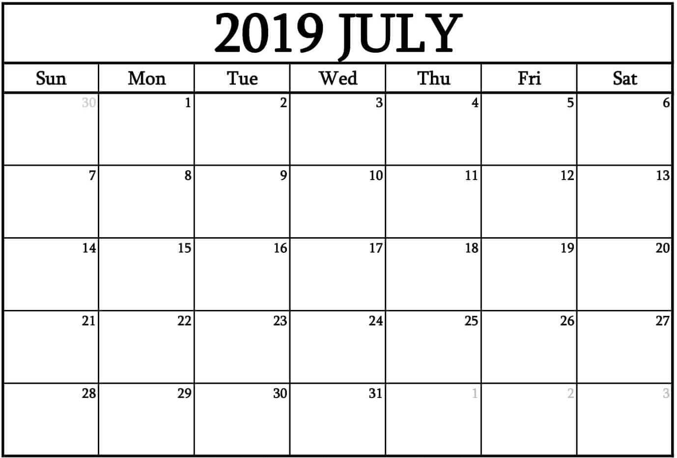 July 2019 Calendar with Holidays Template