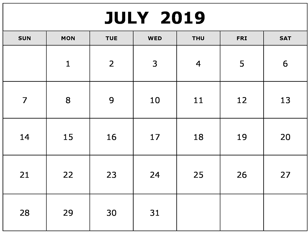 July 2019 Printable Calendar with Holidays