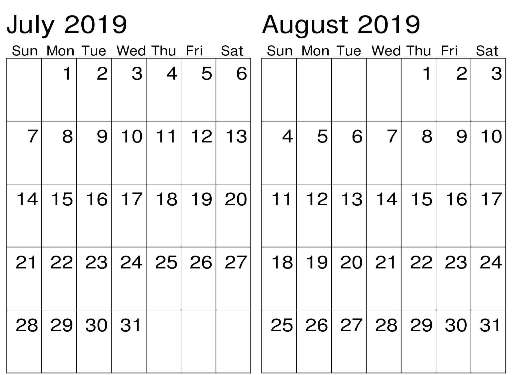 July August 2019 Calendar Portrait