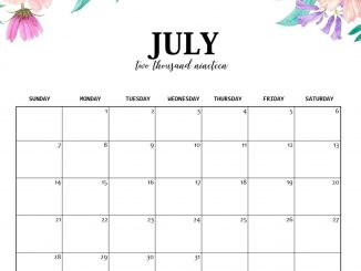 July Public Holidays 2019 Calendar