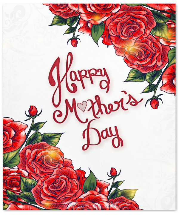 Mother's Day Greeting Animation with Red Roses