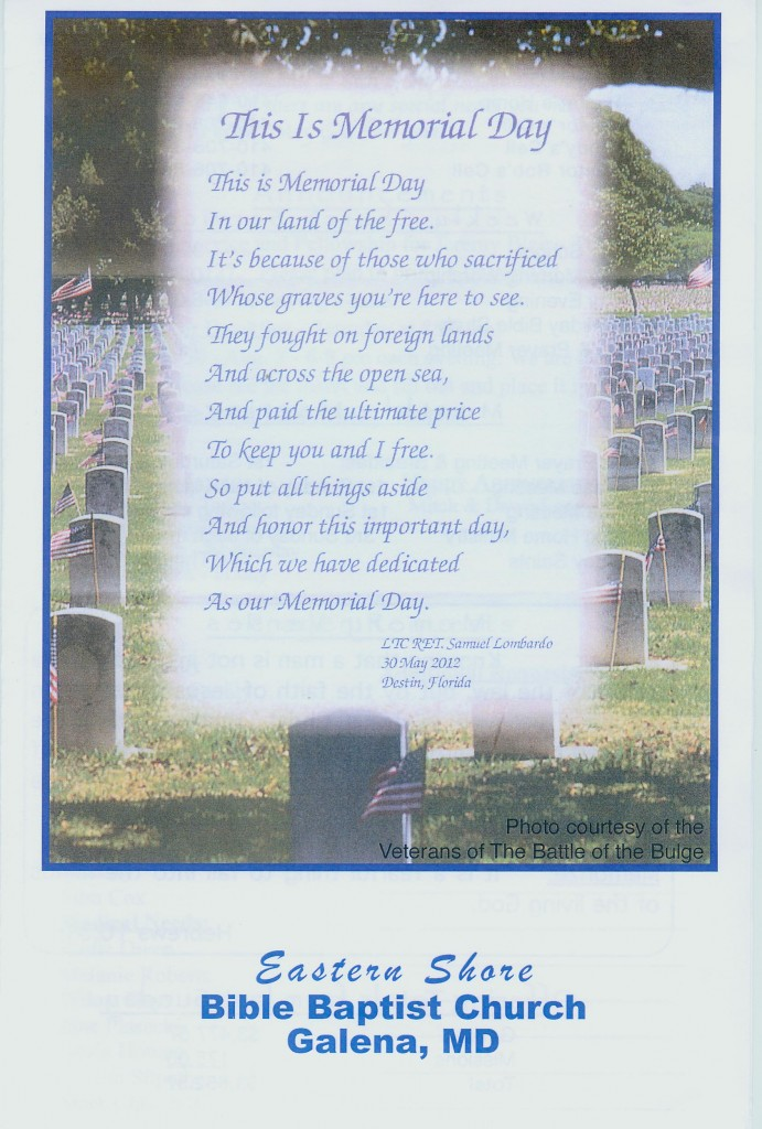 Poems for Memorial Day Services