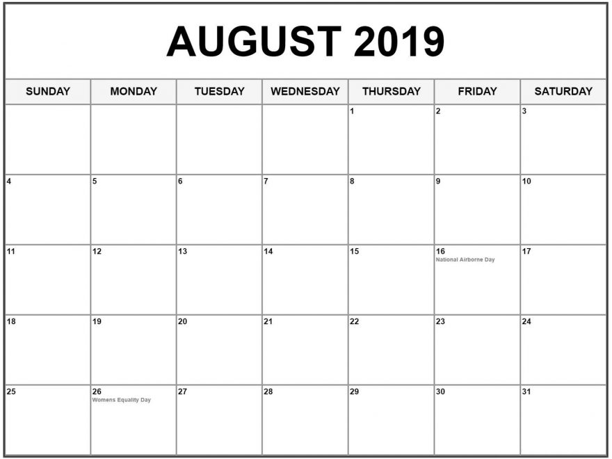 photograph about Printable August Calendar Pdf referred to as August 2019 Calendar Printable Template within just PDF, Phrase, Excel