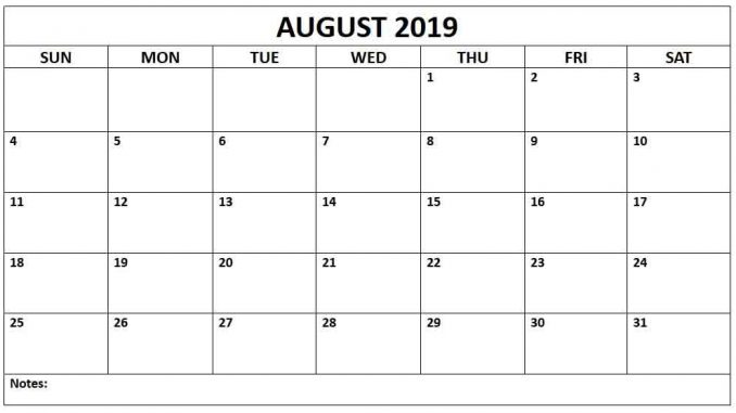 picture relating to Printable Aug Calendar titled August 2019 Printable Calendar with Editable Notes