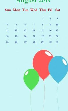 Balloons Background August 2019 iPhone Calendar Wallpaper