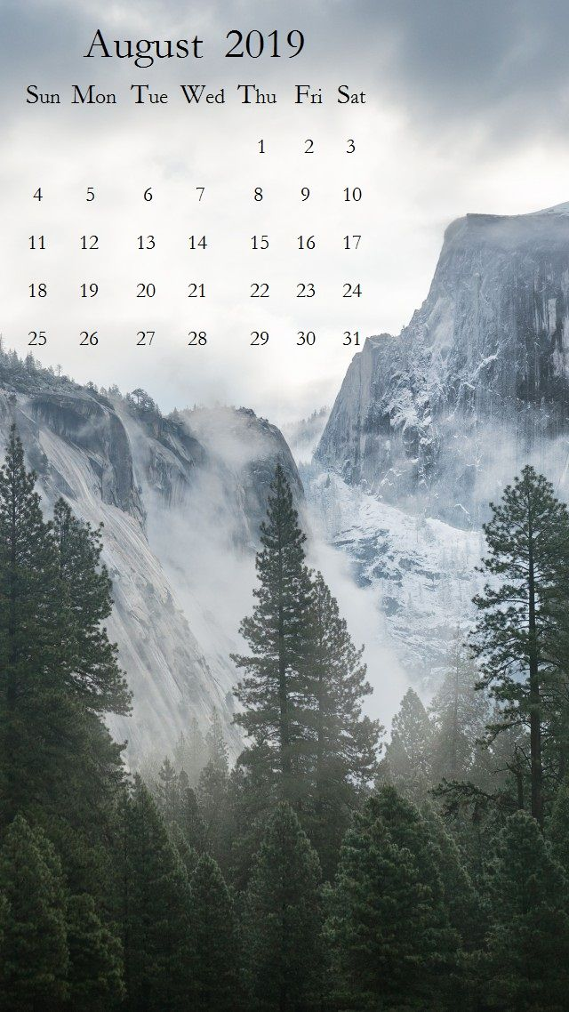 Beautiful Scenery August 2019 iPhone Calendar