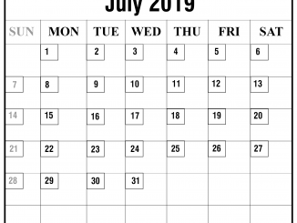 Editable July 2019 Calendar Template