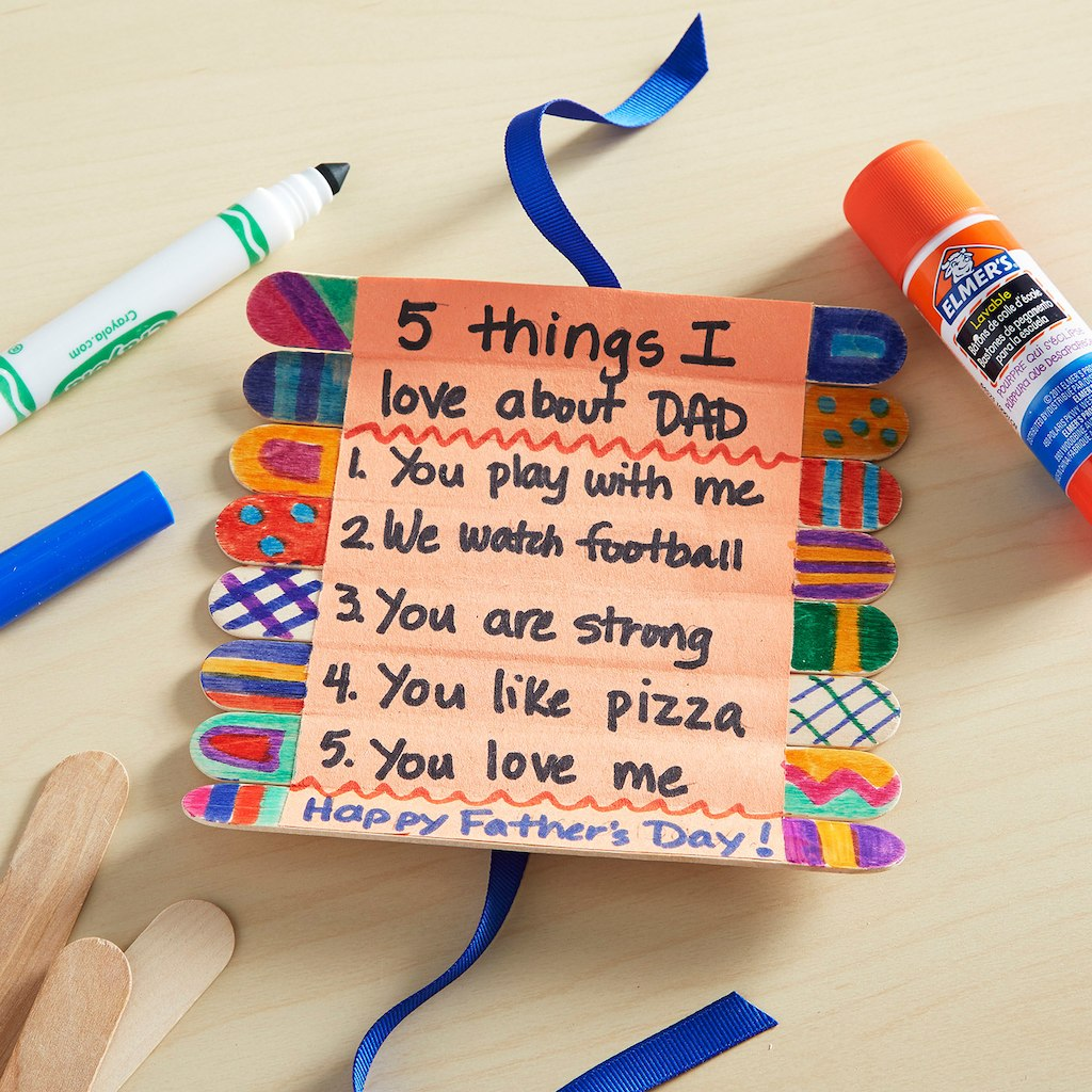 Fathers Day Craft Stick Roll-Up Card