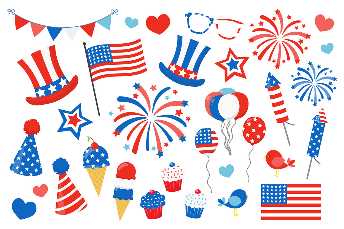 Happy 4th of July Clipart Cute Vector