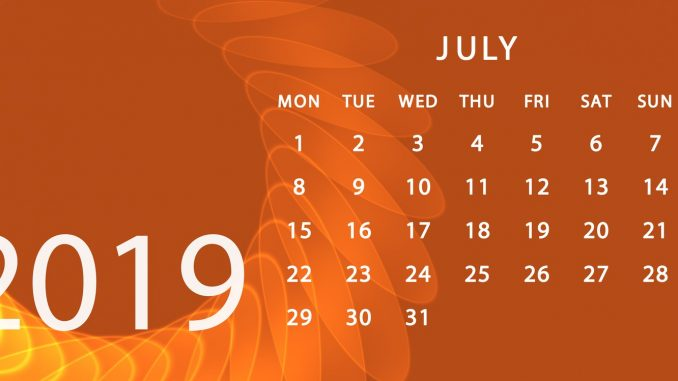 July 2019 Calendar Desktop Wallpaper