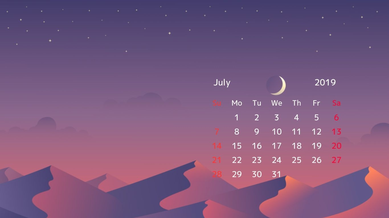 July 2019 Desktop Calendar Wallpaper HD