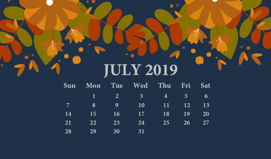 July 2019 Desktop Calendar Wallpaper