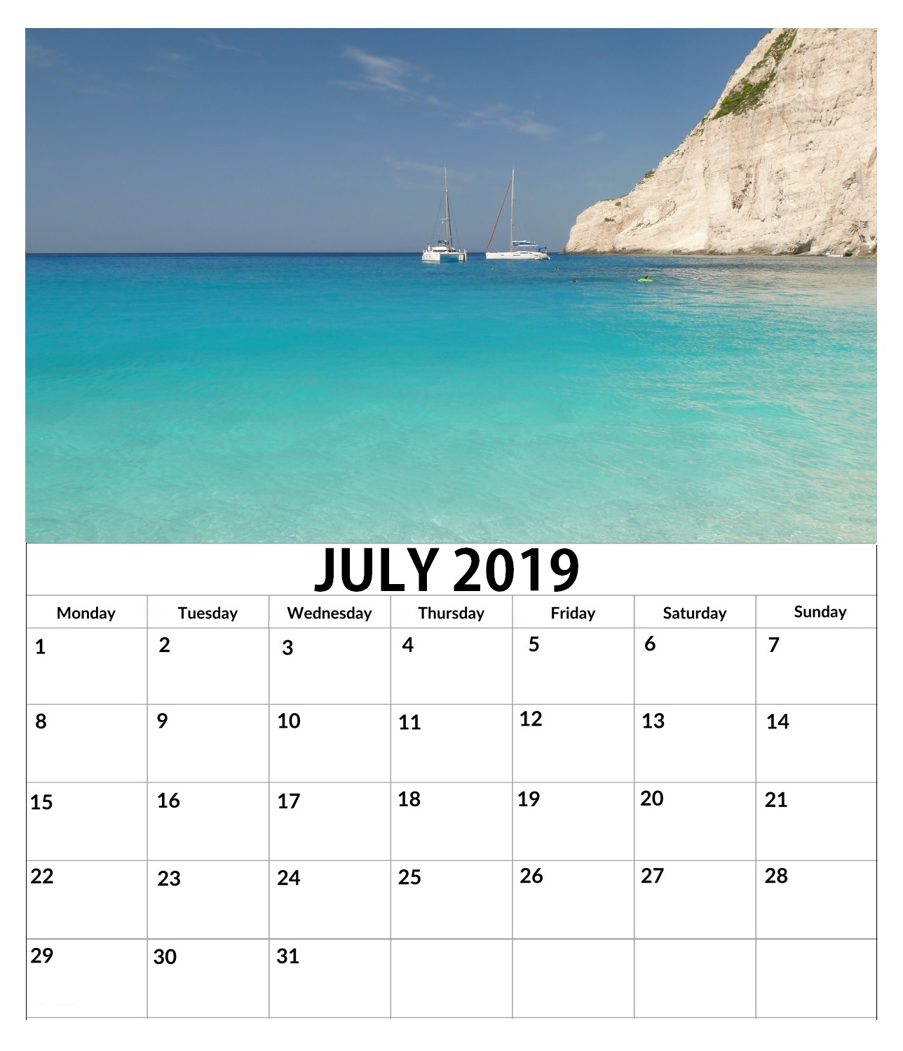 July 2019 Wall Calendar To Print