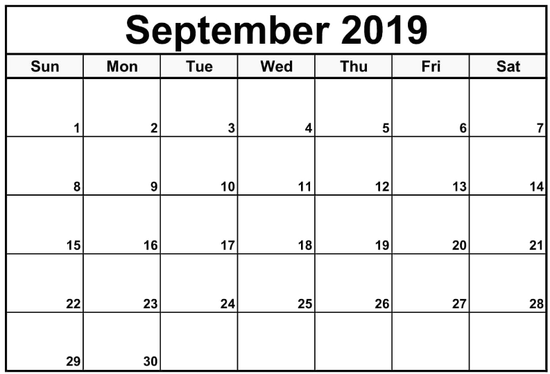 September 2019 Editable Blank Template