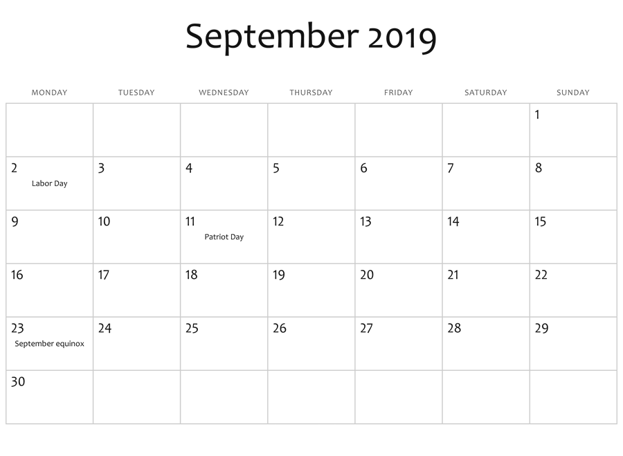 September 2019 Holidays Calendar Template