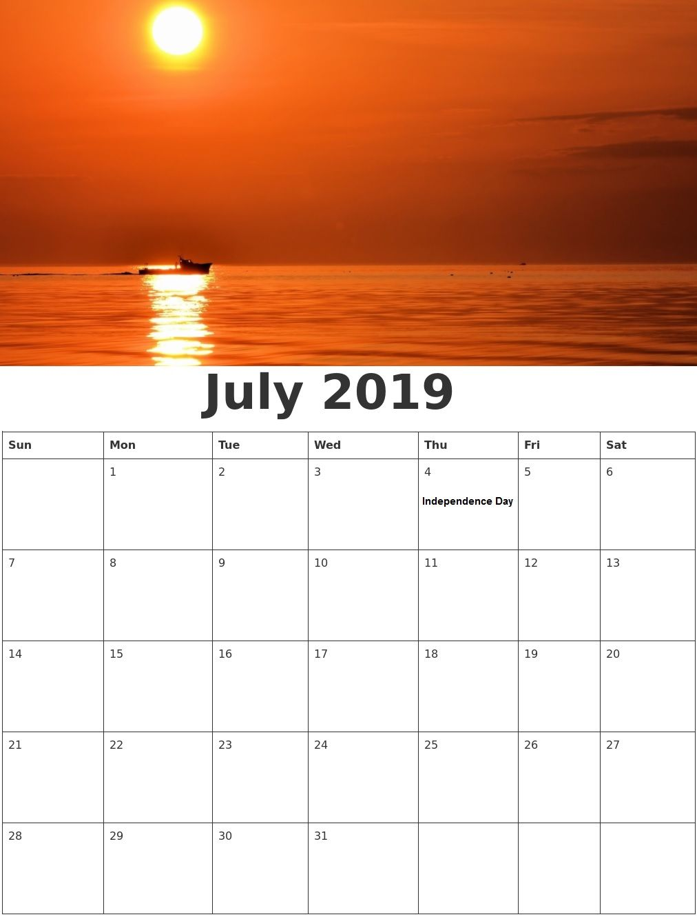 Wall Calendar For July 2019