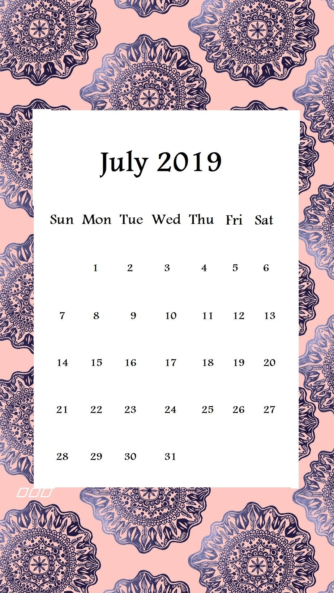 iPhone July Calendar 2019 Wallpaper
