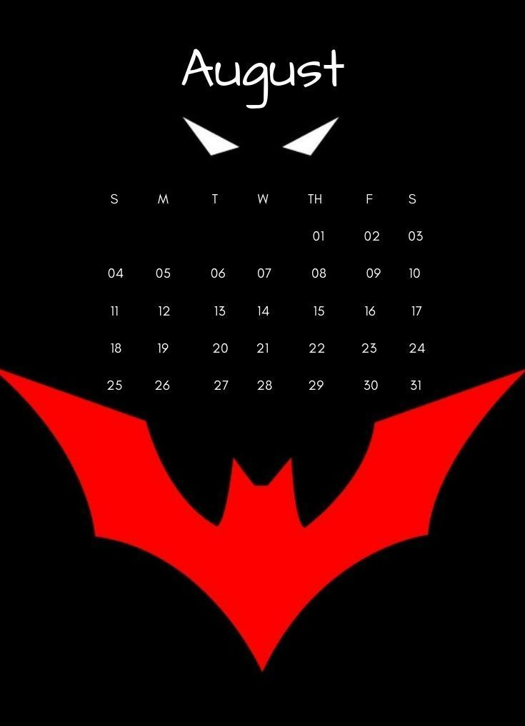 August 2019 Batman Wall Calendar