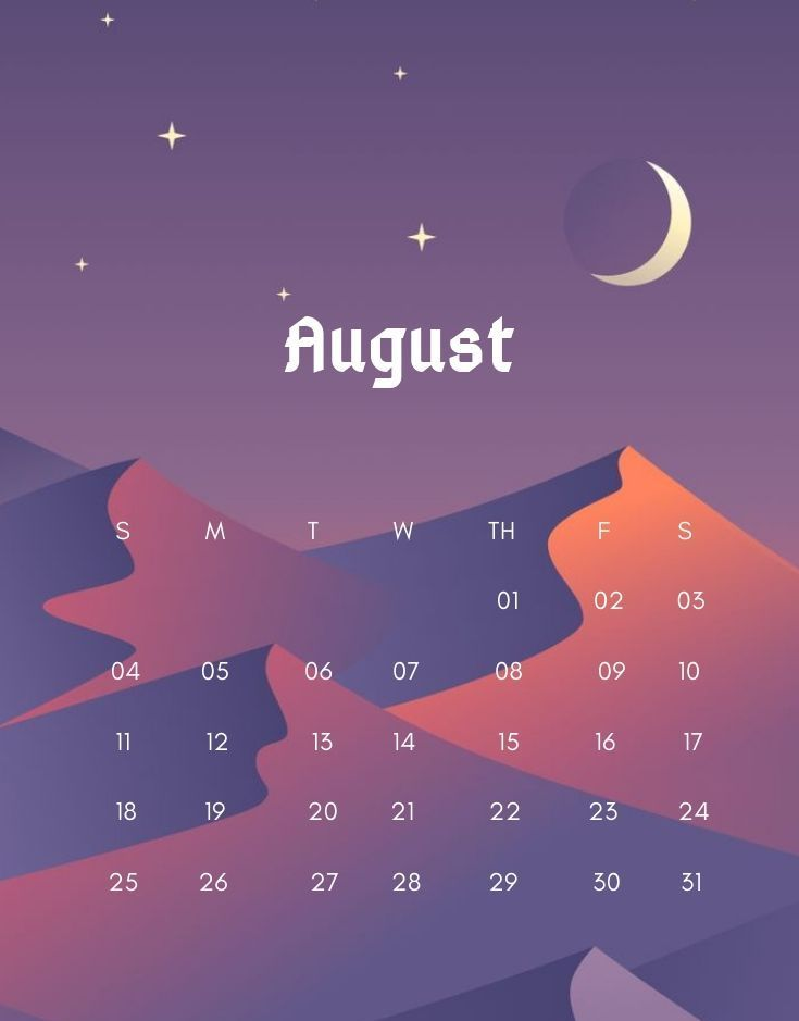 August 2019 Beautiful Wall Calendar