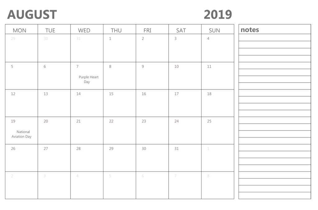 photo regarding Printable Monthly Calendar August identified as Editable August 2019 Term Printable Calendar